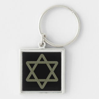 Rivet Star of David for Jewish Celebrations Silver-Colored Square Keychain