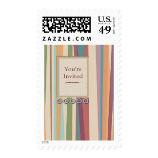 Rivets, Stripes & Inlay Panel You're Invited Postage Stamp