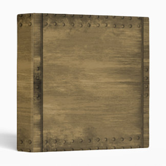 rivetted grungy gold metal plate binder