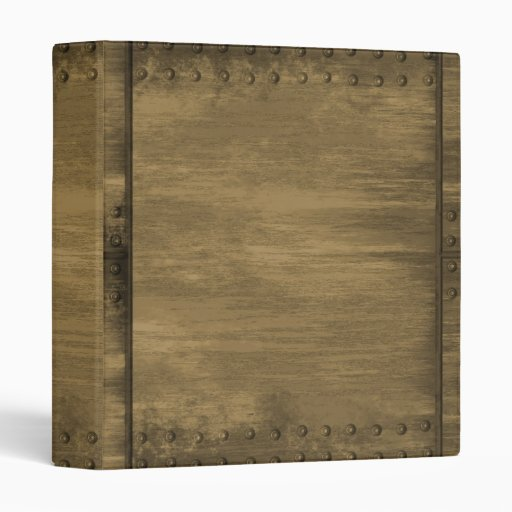 rivetted grungy gold metal plate 3 ring binder
