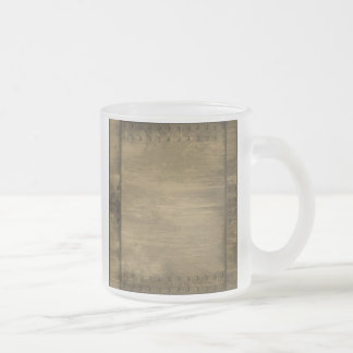 rivetted grungy gold metal plate frosted glass coffee mug