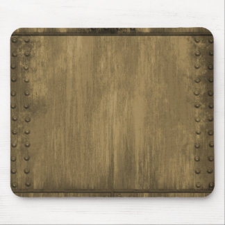 rivetted grungy gold metal plate mouse pad
