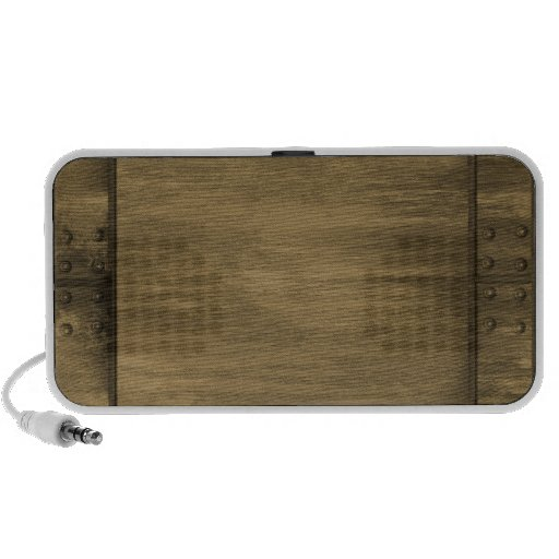 rivetted grungy gold metal plate portable speaker
