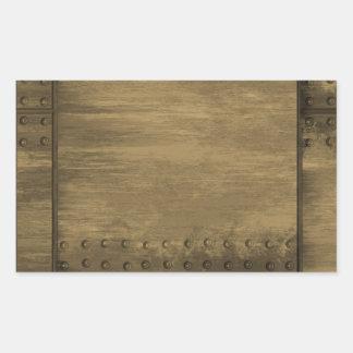 rivetted grungy gold metal plate rectangular sticker