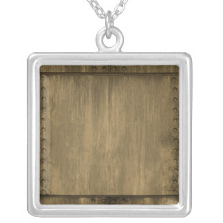 rivetted grungy gold metal plate silver plated necklace
