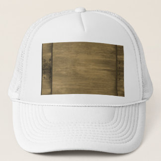 rivetted grungy gold metal plate trucker hat