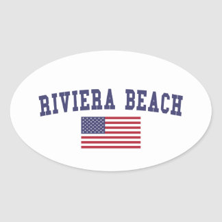 Riviera Beach US Flag Oval Sticker