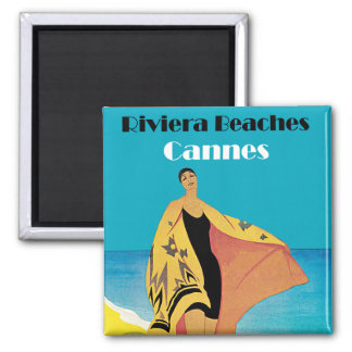Riviera Beaches ~ Cannes 2 Inch Square Magnet