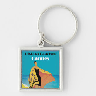 Riviera Beaches ~ Cannes Silver-Colored Square Keychain
