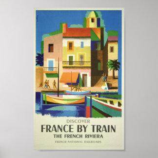 Riviera francesa por el poster del viaje del tren