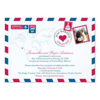Riviera Maya Mexico Airmail Post Wedding Reception Card