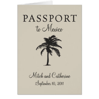 Riviera Maya Mexico Passport Wedding Invitation Stationery Note Card