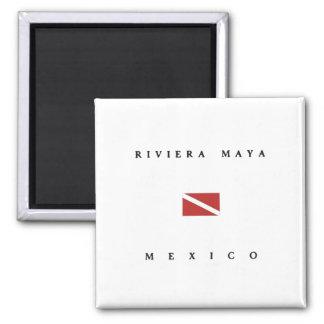 Riviera Maya Mexico Scuba Dive Flag 2 Inch Square Magnet