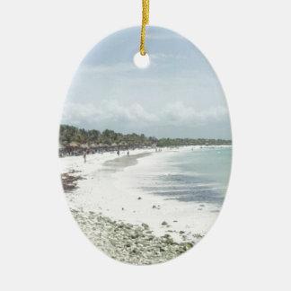Riviera Maya Double-Sided Oval Ceramic Christmas Ornament