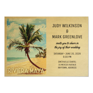 Riviera Maya Wedding Invitation Beach Palm Tree