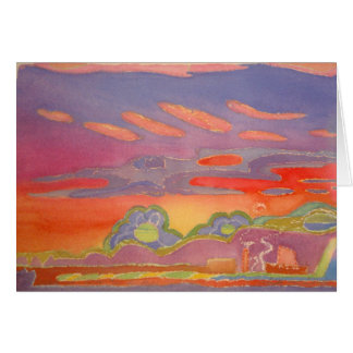 Riviera Sunset Clouds, wiith text, customizable Card