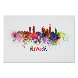 Riyadh skyline in watercolor poster