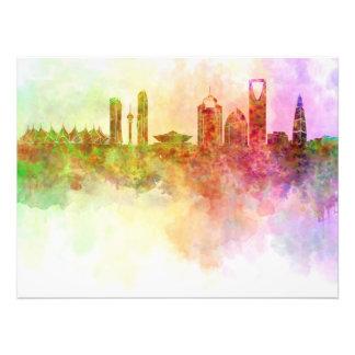 Riyadh skyline in watercolour background photo art