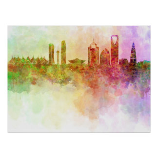 Riyadh skyline in watercolour background poster