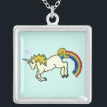 "Riyah-Li Designs Rainbow Pooping Unicorn Silver Plated Necklace<br><div class=""desc"">Goofy designs of a rainbow pooping unicorn. Perfect for those with a crude sense of humor!</div>"