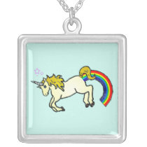 Riyah-Li Designs Rainbow Pooping Unicorn Silver Plated Necklace