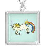 Riyah-Li Designs Rainbow Pooping Unicorn Square Pendant Necklace
