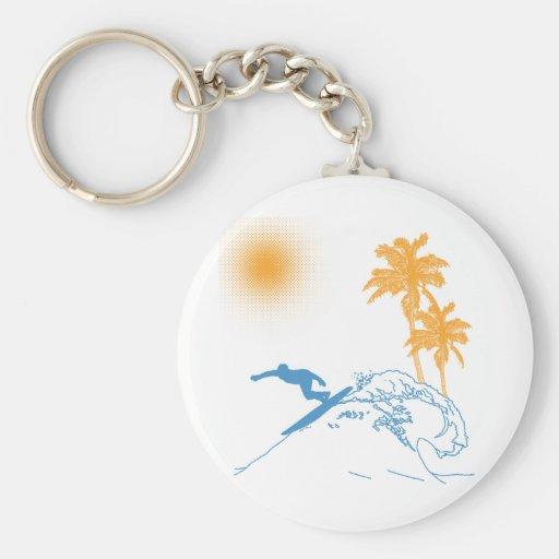 Riyah-Li Designs Surfer Basic Round Button Keychain