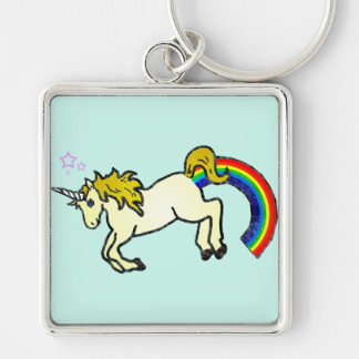 Riyah-Li diseña el unicornio de Pooping del arco i Llavero Cuadrado Plateado