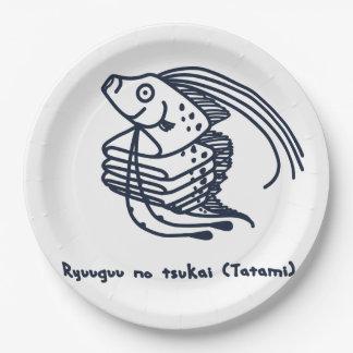 < riyuuku ゙ unotsukai (folding) dark blue >Oarfish Paper Plate