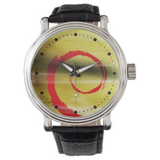 Rizo abstracto de Marbelized (rojo amarillo) Relojes De Mano