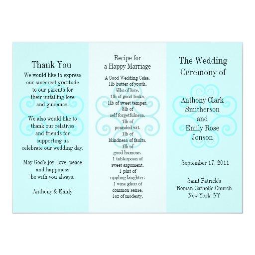 Rizo azul del folleto del programa del boda comunicado
