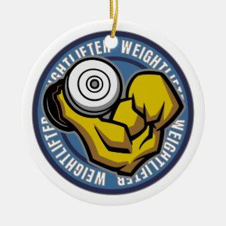 Rizo del Barbell del Weightlifter Adorno Navideño Redondo De Cerámica