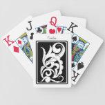 Rizos blancos y negros y remolinos barajas de cartas