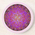 Rizos célticos del arte del fuego púrpura posavasos personalizados