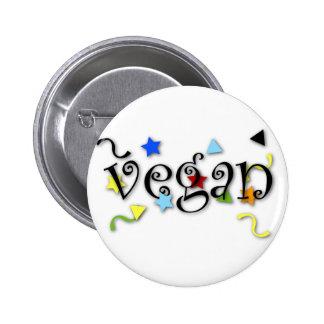 Rizos del vegano pin redondo de 2 pulgadas