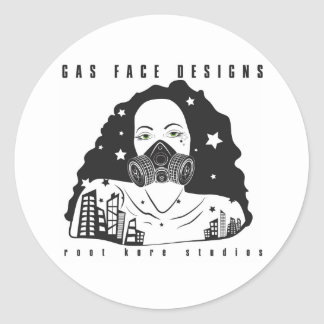 RKS: Gas Face Designs City Nights: Black Mask Classic Round Sticker