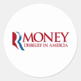 RMONEY - Incredulidad en Amercia.png Pegatina Redonda