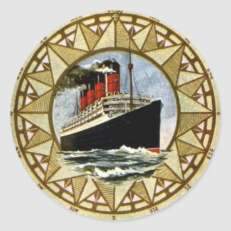 RMS Berengaria Vintage Cunard Line Classic Round Sticker
