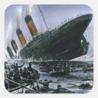 RMS de hundimiento titánico Pegatina Cuadrada