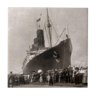 RMS Lusitania arrives New York City 1907 Small Square Tile