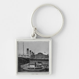 RMS Olympic at Pier 59 Vintage Glass Slide 1911 Keychain