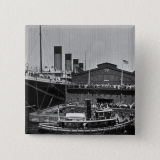 RMS Olympic at Pier 59 Vintage Glass Slide 1911 Pinback Button