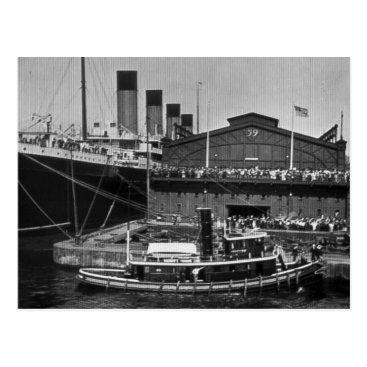 Valentines Themed RMS Olympic at Pier 59 Vintage Glass Slide 1911 Postcard