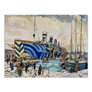 """RMS Olympic in Dazzle Camouflage 11x14"""" poster"""