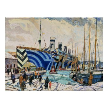 """Christmas Themed RMS Olympic in Dazzle Camouflage 18x24"""" poster"""