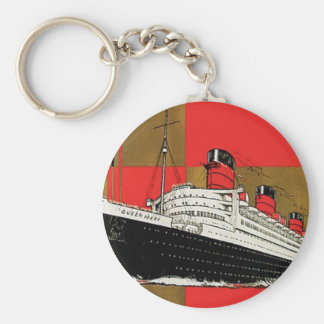 RMS Queen Mary Basic Round Button Keychain