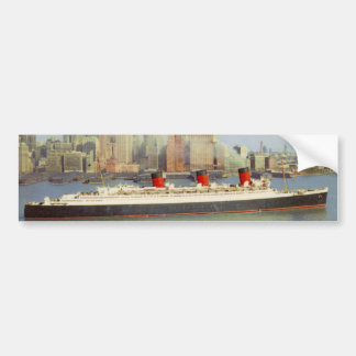 RMS Queen Mary Sailing New York 1950's Bumper Sticker