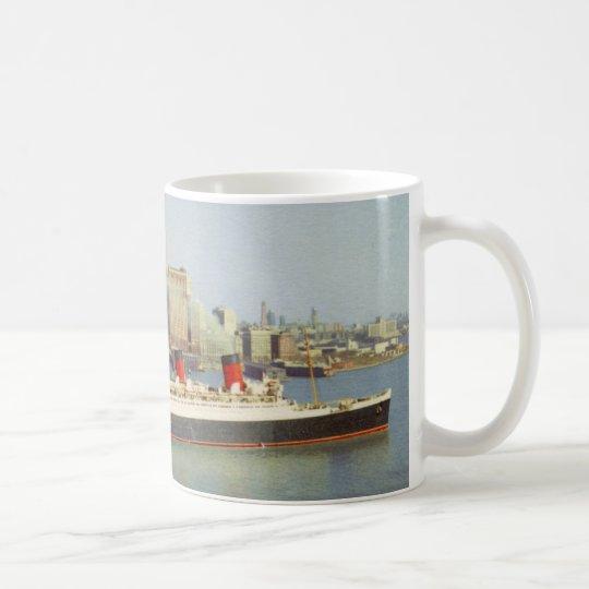 RMS Queen Mary Sailing New York 1950's Coffee Mug