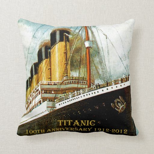 RMS Titanic 100th Anniversary Canvas Throw Pillow