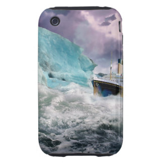 RMS Titanic and Iceberg Painting iPhone 3 Tough Case